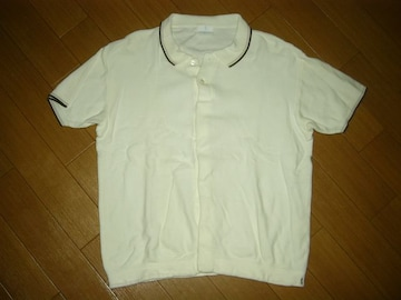 GOODENOUGHグッドイナフ半袖コットンニットシャツMポロ白系