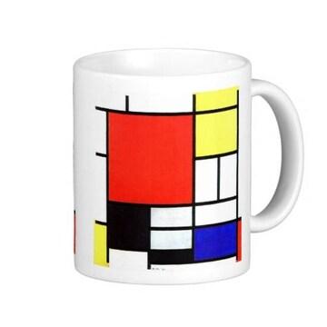 モンドリアン『赤、黄、青と黒のコンポジション』のマグカップ