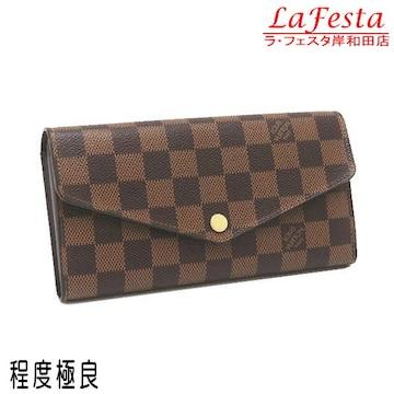 本物美品◆ルイヴィトン【人気】ダミエ2つ折り長財布(サラ/箱