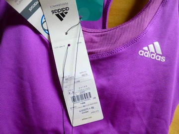 adidasアディダスLブラタンク紫ピンク新品カップ付き速乾ドライ