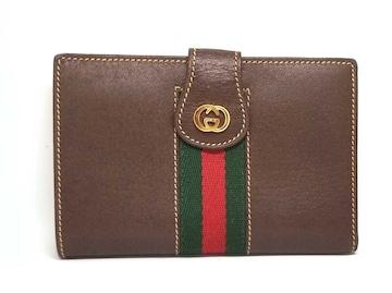正規美品グッチ財布二つ折りオールドグッチウェブストラ