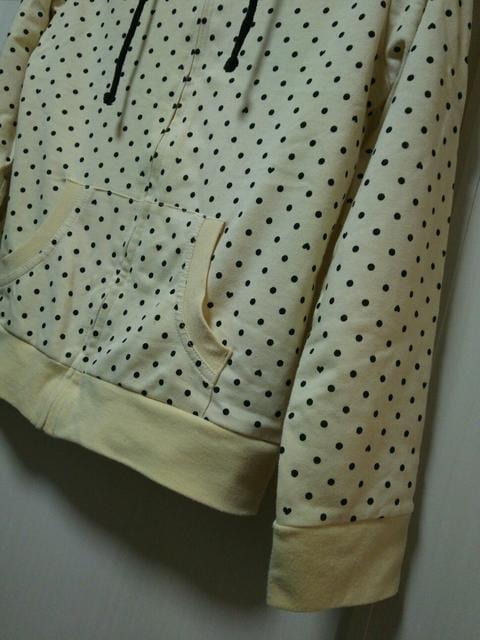 ハートドット柄M黄色厚手パーカー長袖スウェット黄色ブラック黒 < 女性ファッションの