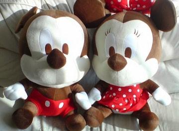 新品*タグ付*ミッキーマウスビッグぬいぐるみ*茶色×赤パンツ