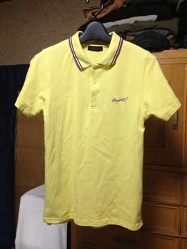 ワールドワイドラブ バックプリント 半袖ポロシャツ Sサイズ 黄色 ロック 古着 ユーズド