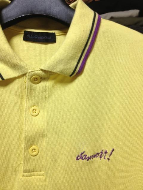 ワールドワイドラブ バックプリント 半袖ポロシャツ Sサイズ 黄色 ロック 古着 ユーズド < ブランドの