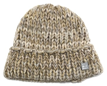 新品同様正規シャネルニットキャップニット帽ニット帽子ココマ