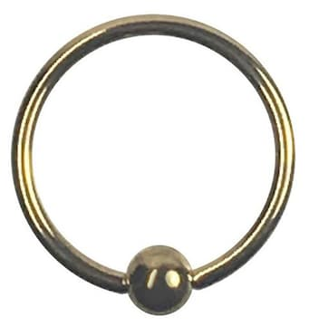 ステンレスボディピアス 18G 内径10mm ボール3mm ゴールド