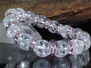 クラック水晶12ミリ§ピンクロンデル数珠