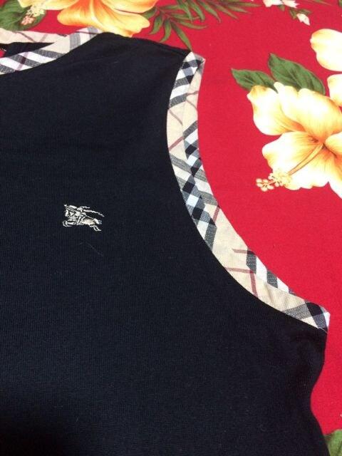 Burberry☆ブラックタンクトップ☆ホースマーク刺繍☆160A < ブランドの
