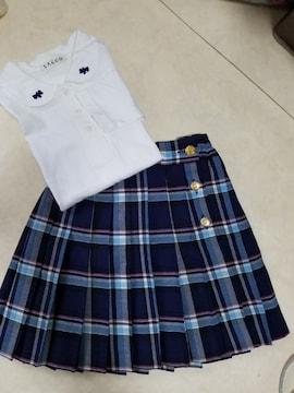 #コーデ♪中古☆120�p白シャツ&チェックスカートまとめ売