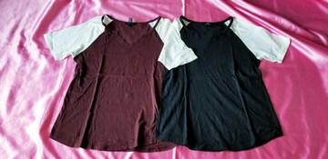 forever21黒ブラック&茶ブラウン×白半袖ラグラン半袖Tシャツ2枚