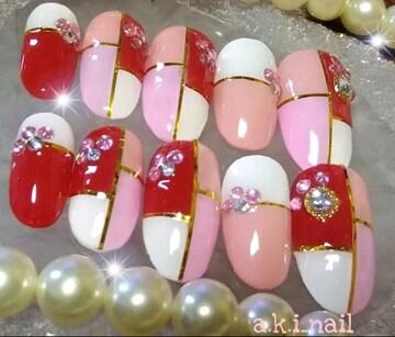 ジェルネイルチップ〜付け爪/パレット柄☆ピンク×赤