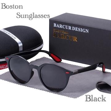 サングラス ボストン  ミラーレンズ メガネ UV400 ブラック