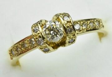 K18 中石 0.21ct ダイヤモンドリング 9号 指輪