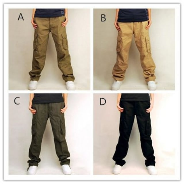 4色 メンズワークパンツ カーゴパンツ 【W30-W44】 /AK249 < 男性ファッションの