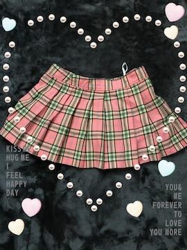 ミニ丈のスカート★ピンクのチェック柄★スカート中古