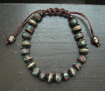 ☆即決☆水牛骨製装飾ビーズ*紐編みブレスレット