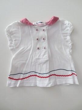 即決/familiar/セーラー襟半袖コットンブラウス/70/白