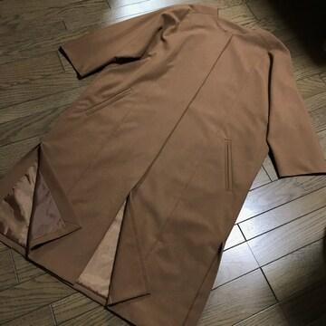 ナノユニバースオーバーサイズブラウンノーカラーアウターコート