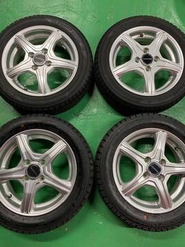 1082613美品アルミホイ-ル国産スタッドレスタイヤセット軽自動車155/65R14送料無料
