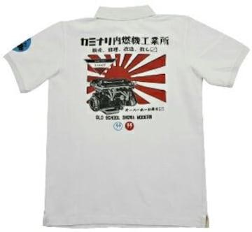 新作/カミナリ雷/ポロシャツ/ホワイト/kmps-300/エフ商会/テッドマン