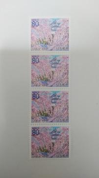 80円切手4枚◆弘前城と桜・青森県◆即決