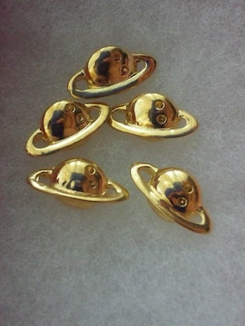 土星型 デコパーツ 5個 ゴールド レジン ハンドメイド ko01