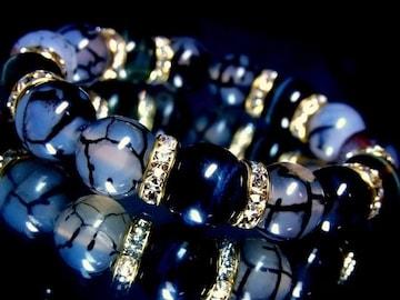 ブルータイガーアイ§黒龍紋ドラゴンアゲート12ミリ金ロンデル数珠
