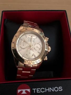 テクノス オールゴールド クロノグラフ腕時計