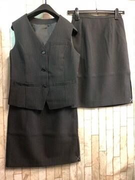 新品☆7号お仕事ベストスーツ同スカート2枚!黒ストライプ☆n287