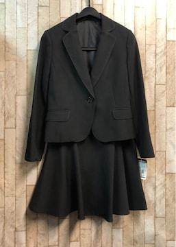 新品☆9号プチ♪黒無地のフレアスカートスーツ☆s848