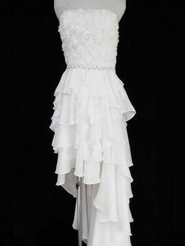 ローズフリルフィッシュテール主役高級ドレス純白パーティー