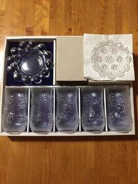 251.新品☆グラス、小皿、灰皿のセット☆ガラス製