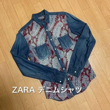 【美品】ZARA デニムシャツ 刺繍 Mサイズ