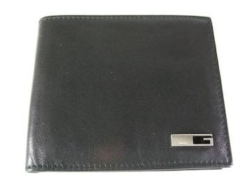 良好グッチ2つ折りレザー財布 ブラック