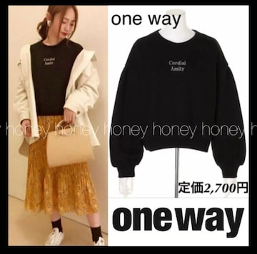 one wayワンウェイ★ラメ文字プルオーバー★Blackブラック黒