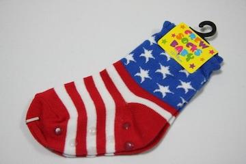 USフラッグ柄ベビーソックス/靴下くつした★10-15cmくるぶし星条旗