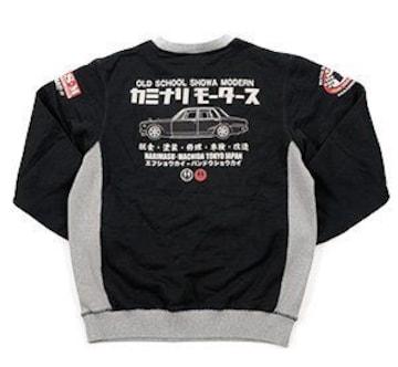 カミナリ雷/ハコスカ/スエット/黒/kmsw-100/エフ商会/テッドマン/カミナリモータース