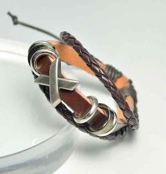 《新品》レザー 革ブレス クロスメチーフ ブラウン