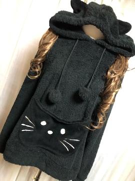 中古★4L★総ボア生地★猫デザインフード付き★チュニック★黒