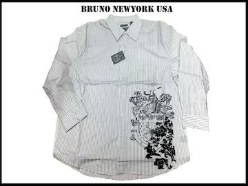 新 【白黒色-3XLB】 Bruno Newyork シャツビッグ大きいサイズ