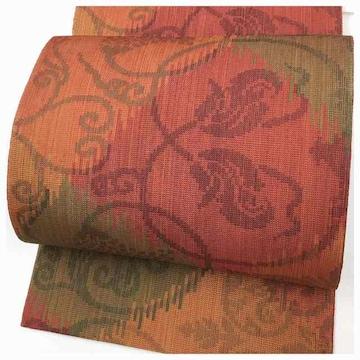 特選 織り 花模様 薄手 八寸名古屋帯 名古屋帯 正絹 逸品 (赤)