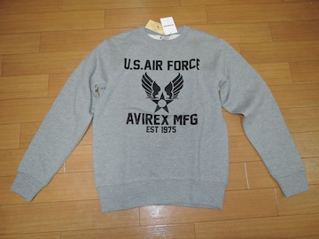 新品アヴィレックスAVIREXスウェットM灰系U.S.AIR FORCE