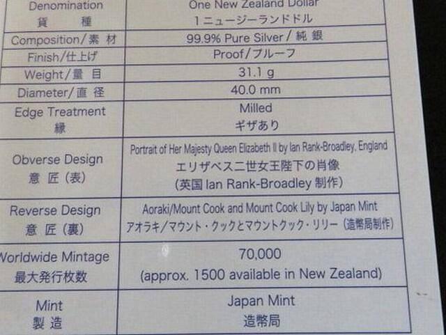 日本・ニュージーランド友好 銀貨幣 < ホビーの