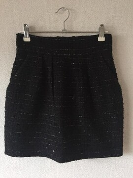 イングINGNIツイードコクーンミニスカート黒ブラックセシルリエンダ