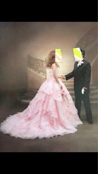 美品3Dフラワー・ビーズ付きウェディングドレス カクテルドレス