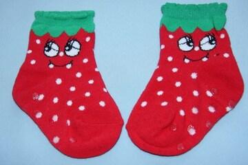 キュート♪いちご柄ベビーソックス靴下/10-15cmくるぶし/イチゴ/ストロベリー