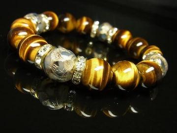 こだわり 金彫皇帝龍ドラゴンアゲート×タイガーアイブレスレット 12ミリ数珠