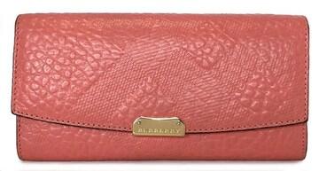 正規バーバリー長財布レザー型押しピンク財布レディー
