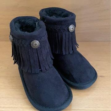 男女ベビチビOK新品フリンジ暖か裏起毛ブーツ13�pブラック